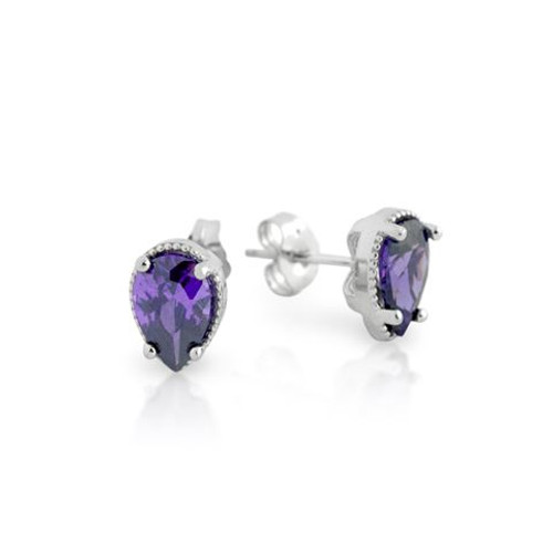 RHODIUM PLATED PURPLE TEARDROP CZ STUD EARRINGS