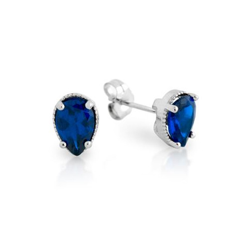 RHODIUM PLATED BLUE TEARDROP CZ STUD EARRINGS