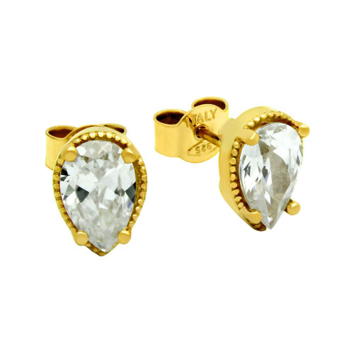 GOLD PLATED TEARDROP CZ STUD EARRINGS