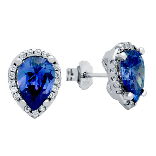 RHODIUM PLATED BLUE TEARDROP CZ EARRINGS WITH ALL AROUND CLEAR CZ STONES