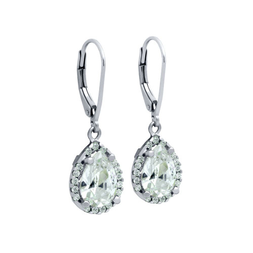 RHODIUM PLATED TEARDROP CZ LEVERBACK EARRINGS WITH ALL AROUND SMALL CZ STONES