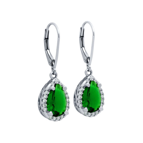 EMERALD GREEN RHODIUM PLATED TEARDROP CRYSTAL LEVERBACK EARRINGS WITH ALL AROUND SMALL CZ STONES