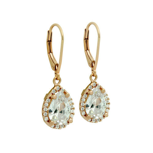 ROSE GOLD PLATED TEARDROP CZ LEVERBACK EARRINGS WITH ALL AROUND SMALL CZ STONES