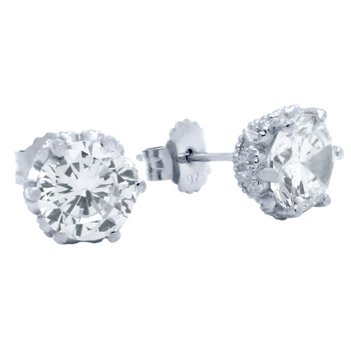 RHODIUM PLATED HEART DESIGN CZ STUD EARRINGS