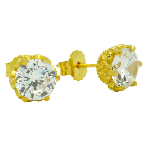 GOLD PLATED HEART DESIGN CZ STUD EARRINGS
