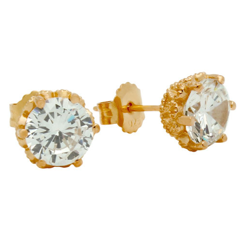 ROSE GOLD PLATED HEART DESIGN CZ STUD EARRINGS