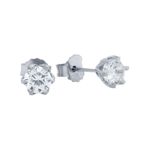 RHODIUM PLATED FLORAL DESIGN SMALL CZ STUD EARRINGS