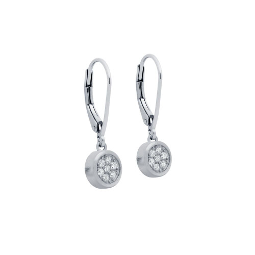 RHODIUM PLATED ROUND CZ CLUSTER LEVERBACK DANGLE EARRINGS