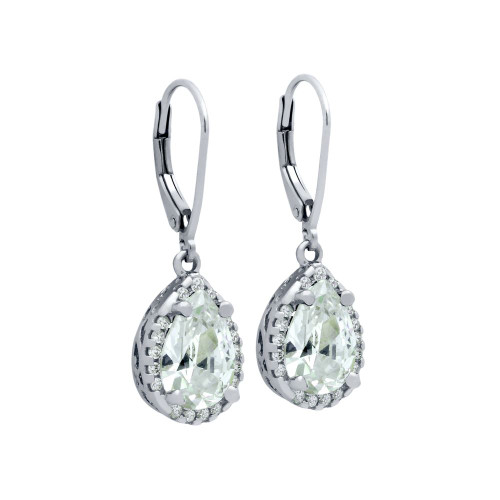RHODIUM PLATED TEARDROP CZ FLORAL DESIGN DANGLING EARRINGS