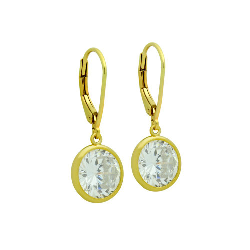 10MM GOLD PLATED ROUND BEZEL SET CZ STUD EARRING