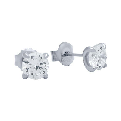 RHODIUM PLATED 6.5MM EAGLE CLAW SETTING STUD EARRINGS