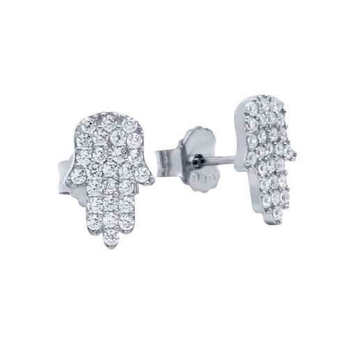 RHODIUM PLATED CZ PAVE HAMSA EARRINGS