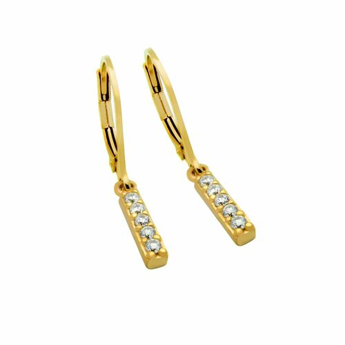 GOLD PLATED CZ BAR EARRINGS, SMALL