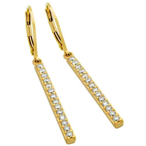 GOLD PLATED CZ BAR EARRINGS, LARGE