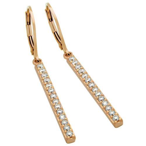 ROSE GOLD PLATED CZ BAR EARRINGS, LARGE