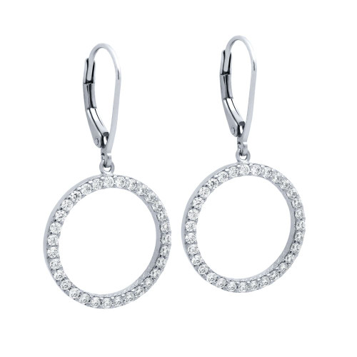 RHODIUM PLATED 18MM CZ ETERNITY CIRCLE EARRINGS