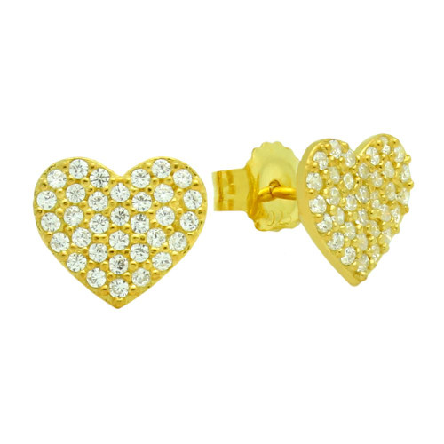 GOLD  PLATED STERLING SILVER HEART EARRINGS WITH CZ PAVE