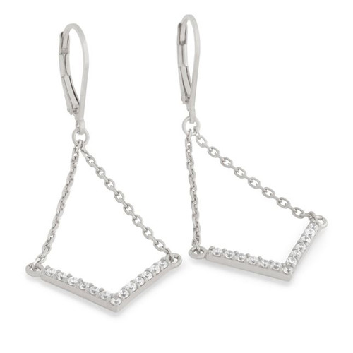 "RHODIUM PLATED EARRINGS WITH SUSPENDED CZ PAVE ""V"" CHEVRON"