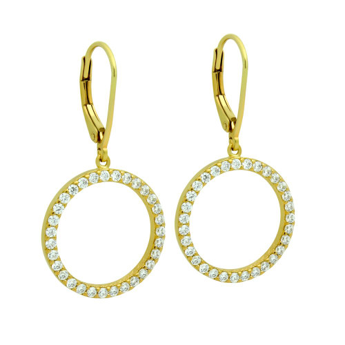 GOLD PLATED 18MM CZ ETERNITY CIRCLE EARRINGS