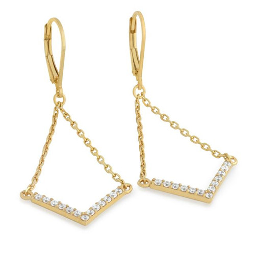 """GOLD PLATED EARRINGS WITH SUSPENDED CZ PAVE """"V"""" CHEVRON"""