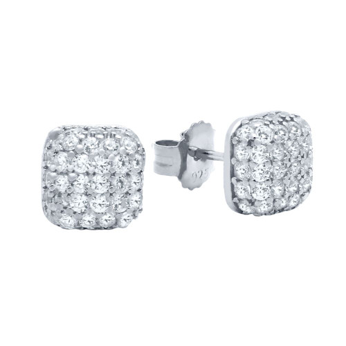 RHODIUM PLATED CUSHION-SHAPE DOME CZ PAVE POST EARRINGS