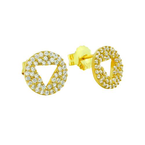 GOLD PLATED CZ DISK STUD EARRINGS WITH CUTOUT TRIANGLE
