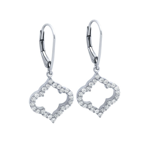 RHODIUM PLATED CZ CUTOUT ROYAL CLOVER LEVER BACK EARRINGS
