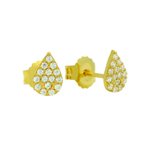GOLD PLATED DROP SHAPED CZ PAVE POST EARRINGS