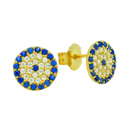 GOLD PLATED BLUE EYE CZ PAVE POST EARRINGS