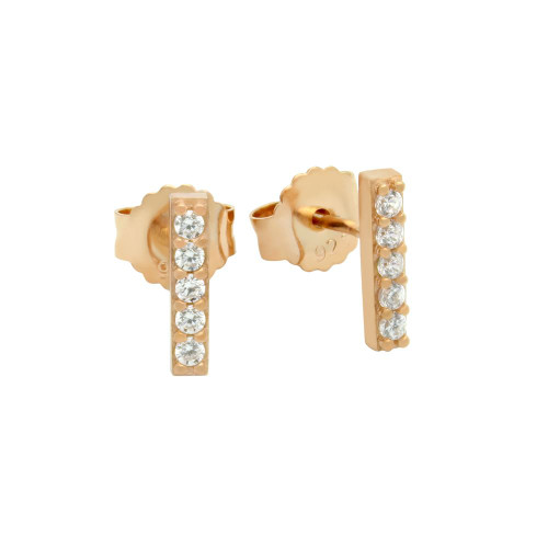 ROSE GOLD PLATED 10MM CZ BAR STUD EARRINGS