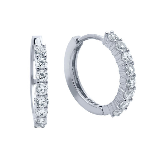 RHODIUM PLATED 18MM ROUND HUGGIE EARRINGS WITH 2.25MM CZ PAVE