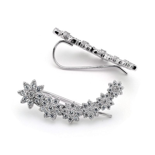 RHODIUM PLATED CZ FLOWER CRAWLER EARRINGS