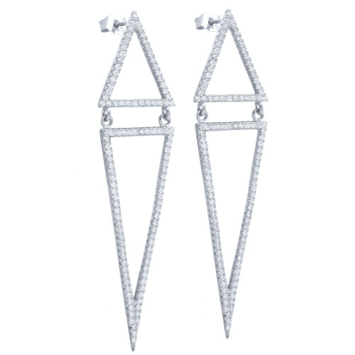 RHODIUM PLATED KITE OUTLINE POST EARRINGS WITH MICRO PAVE CZ