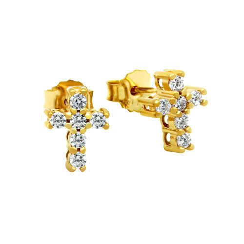 GOLD PLATED PLATED CZ PAVE 10X8MM CROSS STUD EARRINGS