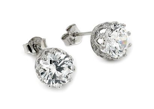 LARGE ROUND CZ CROWN STUD EARRINGS