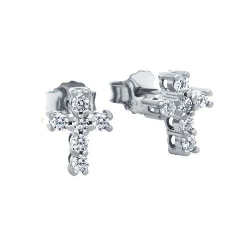 RHODIUM PLATED CZ PAVE 10X8MM CROSS STUD EARRINGS