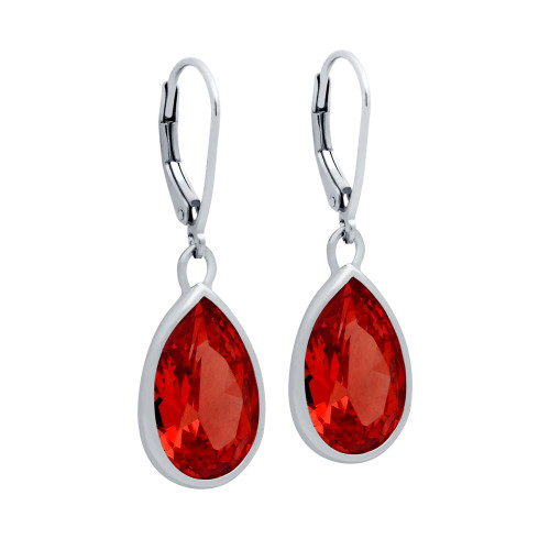RHODIUM PLATED DROP SHAPE RED CZ FISH HOOK EARRINGS