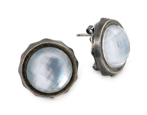 SIGNATURE AUTHENTICO MOTHER OF PEARL ROUND FACETED DEMIQUARTZ DOUBLET EARRINGS