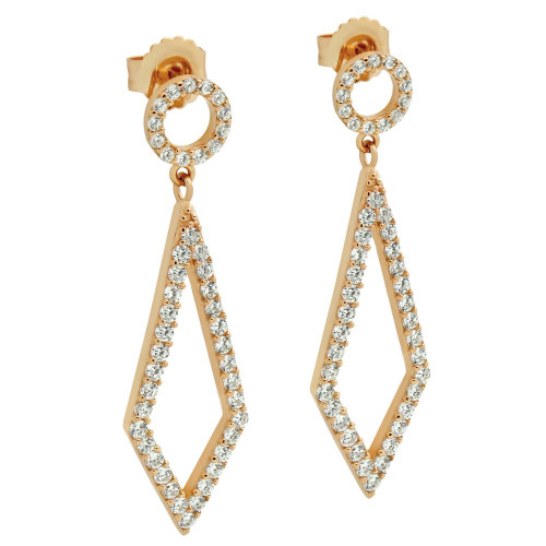 ROSE GOLD PLATED KITE AND CIRCLE OUTLINE CZ PAVE EARRINGS