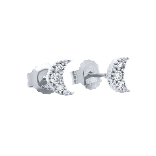 PAVE CZ MOON POST EARRINGS