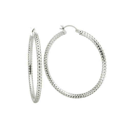 STERLING SILVER 3x55MM LIGHTWEIGHT MESH TUBE HOOP EARRINGS