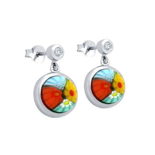 MULTICOLOR MURANO MILLEFIORI 8MM ROUND EARRINGS WITH CZ POST