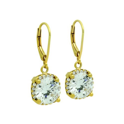 GOLD PLATED SQUARE SHAPE ROUND CZ LEVERBACK EARRINGS
