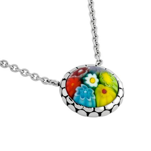 "MULTICOLOR MURANO MILLEFIORI ROUND CABOCHON NECKLACE 16"" + 2"""