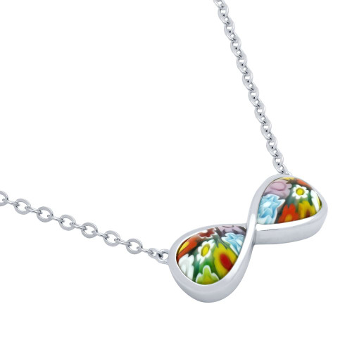 "MULTICOLOR MURANO MILLEFIORI INFINITY NECKLACE 16"" + 2"""