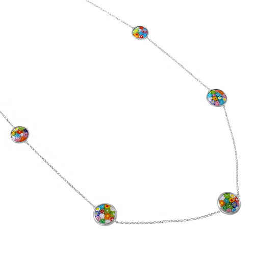 """MULTICOLOR MURANO MILLEFIORI DOUBLE-SIDED 14MM AND 16MM ROUND NECKLACE 32"""""""