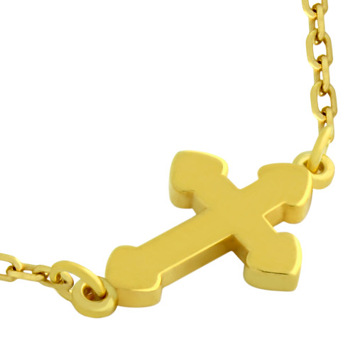 "GOLD PLATED SMALL SHINY CROSS NECKLACE 16"" + 2"""
