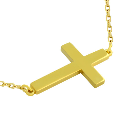 "GOLD PLATED PLAIN SHINY CROSS NECKLACE 16"" + 2"""