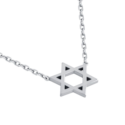 "RHODIUM PLATED HIGH POLISHED STAR OF DAVID NECKLACE 16"" + 2"""