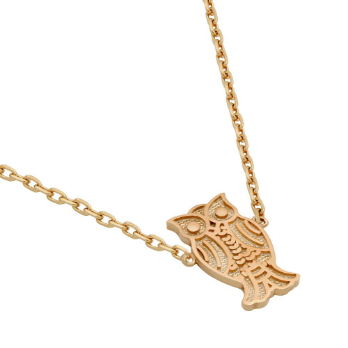 "ROSE GOLD PLATED OWL NECKLACE 16"" + 2"""